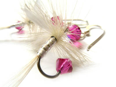 Pink and White Fishing Lure Earrings