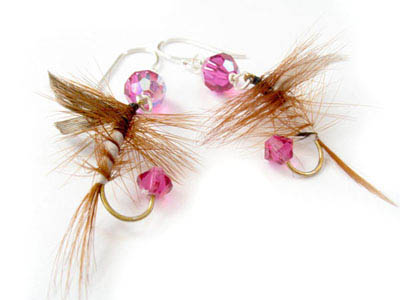 Pink and Brown Fishing Lure Earrings