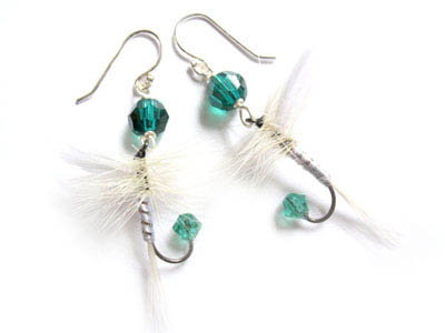 Emerald Green and White Fishing Lure Earrings