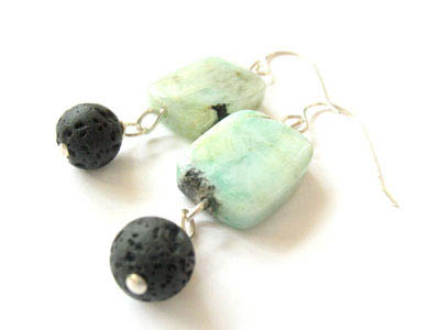 Chrysophase and Lava Stone Earrings