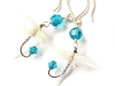 Teal and White Fishing Lure Earrings