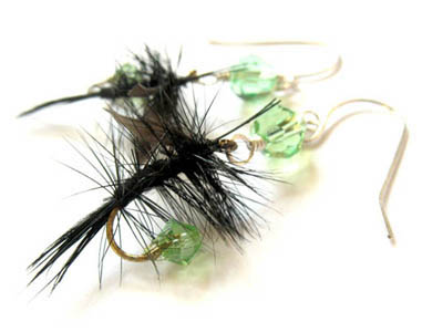 Green and Black Fishing Lure Earrings