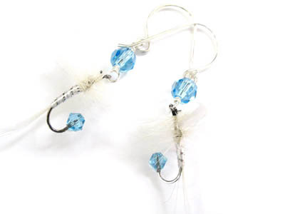 Light Blue and White Fishing Lure Earrings