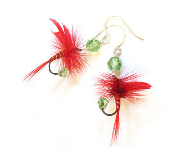 Christmas Green and Red Fishing Lure Earrings