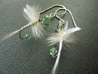 Light Green and White Fishing Lure Earrings