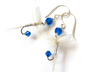 Blue and White Fishing Lure Earrings
