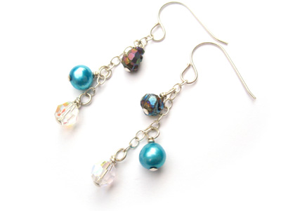 Chalcopyrite, Pearl, and Crystal Earrings