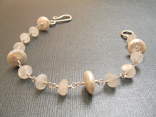 Moonstone and Pearl Sterling Silver Bracelet